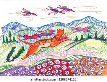savanna  chace on ground and in air, drawing by felt-tip pen
