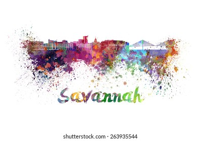 Savannah skyline in watercolor splatters with clipping path