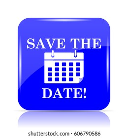 Save the date icon, blue website button on white background.