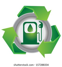 Save The Earth or Recycle Concept Present By Green Recycle Sign With Gasoline Icon Inside Isolated on White Background