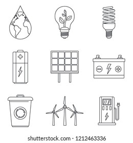 Save energy icon set. Outline set of save energy icons for web design isolated on white background
