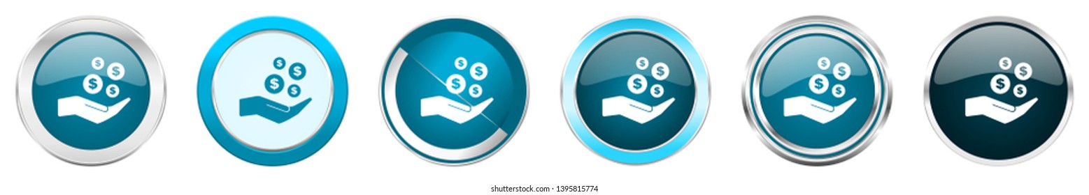 Save money silver metallic chrome border icons in 6 options, set of web blue round buttons isolated on white background
