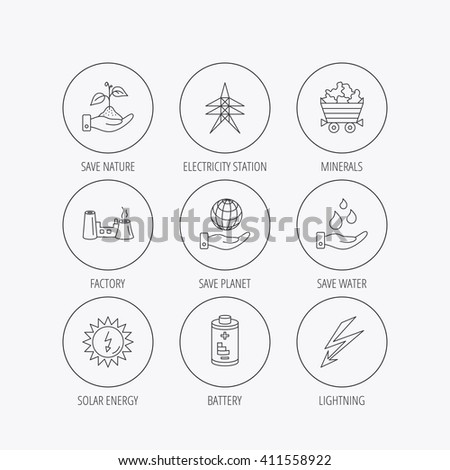 Save Nature Planet Water Icons Minerals Stock Illustration 411558922
