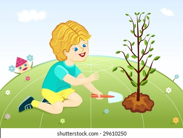 Save our green planet - cute boy planting young trees.