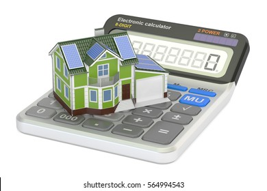 saving energy consumption for house, efficiency from solar panels concept. 3D rendering isolated on white background