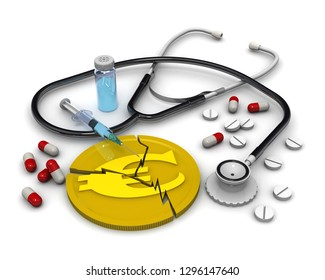 Saving the European economy. A cracked gold coin with the symbol of the the European currency - euro, phonendoscope and medicines lying on a white surface. Financial concept. Isolated. 3D Illustration