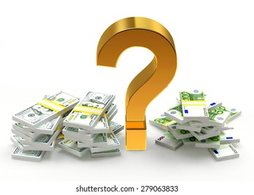 Savings concept. Piles of DOLLAR bills and EURO bills with question mark isolated on white background