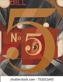 I SAW THE FIGURE 5 IN GOLD, by Charles Demuth, 1928, American painting, oil, gold leaf on paperboard. Demuths poster painting of his friend, the poet William Carlos Williams, and a visual tribute to h