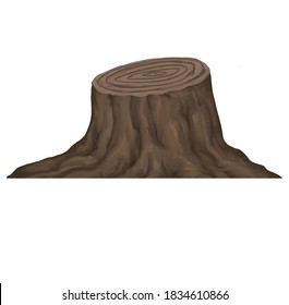 sawn off brown bark treetrunk stump hand drawn illustration isolated on white background
