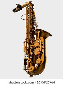 Saxophone close-up scene isolated on background. Ideal for large publications or printing. 3d rendering - illustration