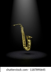 saxophone on the black background 3d rendering