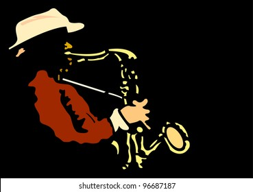 Saxophone player.Raster version