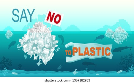 Say no plastic.Рlastic ocean pollution concept. Earth Day concept. Plastic debris contaminating the seabed and coral reefs. Ecological disaster of plastic trash in the ocean. World ocean day.