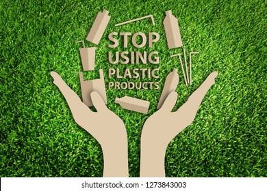 Say no to plastic Products. Stop using plastic Products. Paper art style of Eco concept on green grass background. Save the earth.