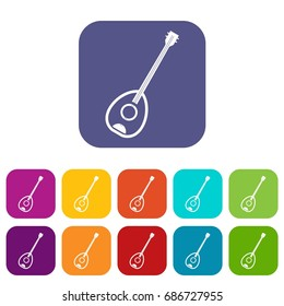 Saz turkish music instrument icons set  illustration in flat style In colors red, blue, green and other
