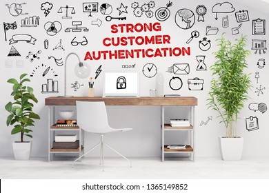SCA - Strong Customer Authentication - Concept with icons around green workplace (3D Rendering)
