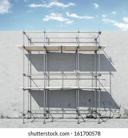 scaffold on wall in front of sky