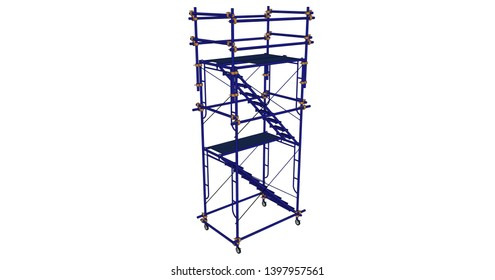 Scaffolding frame Japanese standard type isolated on white background. Can be fill dimension or other safety standard by user. Use for construction content or scaffolding rental vendor.