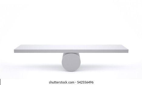 Scale in balance on white background.3D Rendering.
