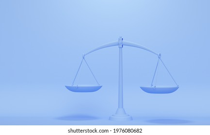 Scales in balance on blue background with copy space. Business concept. 3d rendering