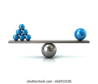 Scales with blue balls symbol of balance and business success concept 3d illustration