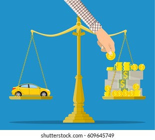 Scales with car and money. Buying a car. illustration in flat style Raster version