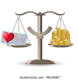 scales choice health or money illustration