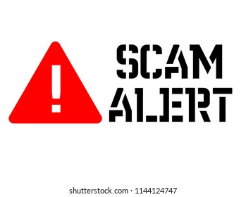Scam alert attention sign, sign, label. Black and red series.