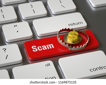 Scam key on the keyboard, 3d rendering,conceptual image