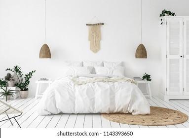 Scandi-boho style bedroom, 3d render