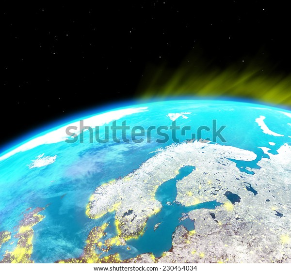Scandinavia continent with city lights from outer space-Elements of this image furnished by NASA