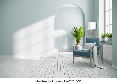 Scandinavia and vintage bedroom interior design,Green armchair with soft green blue walls on white floors ,3d rendering