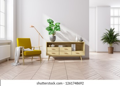 Scandinavia and vintage interior of living room, wood armchairs with wood cabinet  on wood floors and white walls ,3d rendering