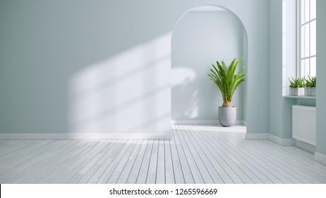 Scandinavia and vintage living room interior design,empty room ,soft green blue walls on white floors ,3d rendering