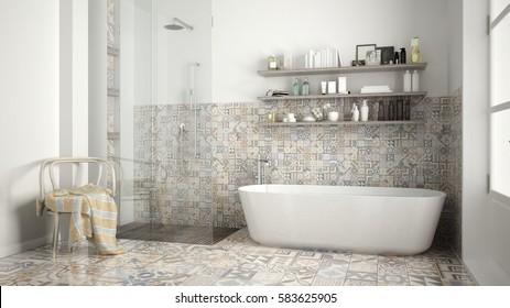 Scandinavian bathroom, classic white vintage interior design, 3d illustration