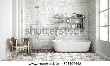 Scandinavian bathroom, classic white vintage interior design, 3d illustration