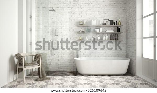 Phòng tắm Scandinavia, thiết kế nội thất cổ điển màu trắng, minh họa 3D