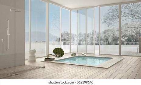 Scandinavian bathroom, white minimalistic interior design, big windows with winter landscape, hotel, spa, resort, 3d illustration
