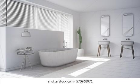 Scandinavian bathroom, white minimalistic interior design, abstract sketch, 3d illustration