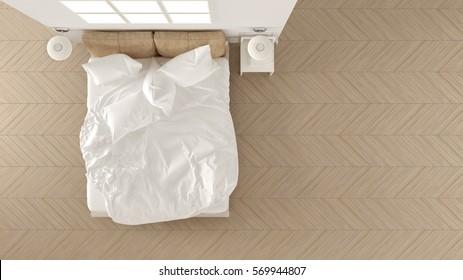 Scandinavian classic bedroom, white minimalistic design, hotel spa resort, top view, 3d illustration
