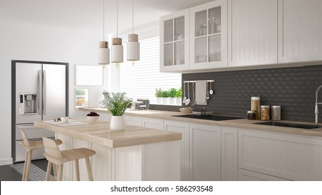 Scandinavian classic kitchen with wooden and white details, minimalistic interior design 3d illustration