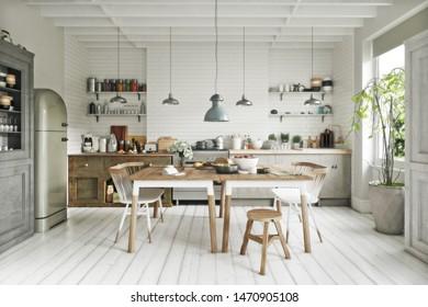 Skandinavische Küche im zeitgenössischen Stil mit Essbereich und vereinfachenden Akzenten. 3D-Rendering