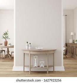 Scandinavian farmhouse living room interior, wall mockup, 3d render