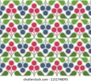 Scandinavian geometric pattern with stylized blue and red forest berries on white background. Raster seamless repeat.