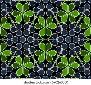 Scandinavian geometric pattern with stylized blueberries and bilberries on dark background. Raster seamless repeat.