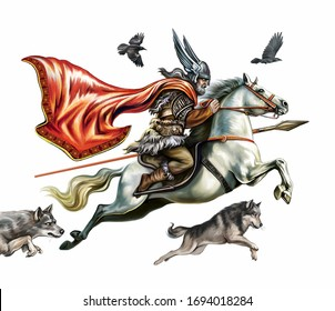 Scandinavian God Odin flies on a horse Sleipnir, with the sacred wolves Geri and Freki and crows Hugin and Munin, isolated image on a white background