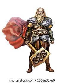 Scandinavian god of thunder and lightning Thor stands with a hammer Mjölnir, hero of Nordic myths, Elder and Younger Edda, one of the great aces, isolated character on a white background