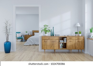 Scandinavian interior concept ,wood cabinet on white room and white bedroom  design ,empty room ,3d rendering