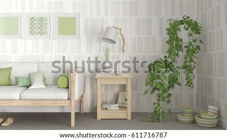 scandinavian interior design living sofa side stock illustration rh shutterstock com