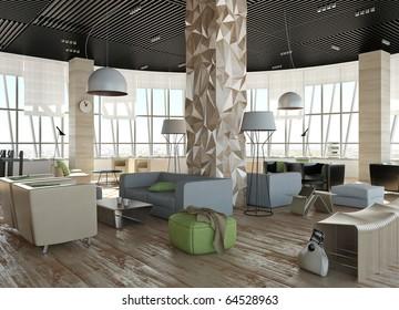 scandinavian interior. Round large room in office